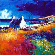 Summer cloud over Vatersay, Barra ~ Jean Feeney Paintings I Love, Watercolor Paintings, Canvas Paintings, Landscape Artwork, Oeuvre D'art, Painting Inspiration, Les Oeuvres, Abstract Art, Fine Art