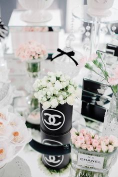 Floral Arrangements from a Chanel Inspired Birthday Party via Kara's Party Ideas | KarasPartyIdeas.com (28)