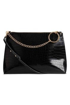 Shoulder bag in crocodile-print faux leather. Narrow, detachable, adjustable-length shoulder strap and an inner compartment with zip. Lined. Size 2 x Style And Grace, Style Me, H&m Online, Fashion Online, Black Women, Shoulder Strap, Kids Fashion, Style Inspiration, Leather