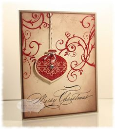 Christmas card using Stampin Up Baroque Motifs and ornament. LOVE.