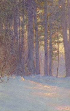 Woods in snow at dusk - Walter Launt Palmer