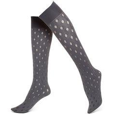 Hue Sheer Dot Opaque Knee-High ($7) ❤ liked on Polyvore featuring intimates, hosiery, socks, thunder, dot socks, hue socks, see through socks, sheer socks and sheer knee high socks