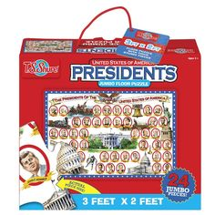 Along with names and portraits of the US presidents, this 24 pc educational puzzle shows artistic images of the proud moments of American history.