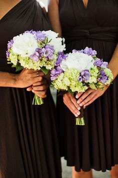 hydrangea mix bridesmaids bouquets http://www.weddingchicks.com/2014/02/08/cowboy-western-chic-wedding-at-retzlaff-vineyards-in-livermore-by-heather-elizabeth-photography/