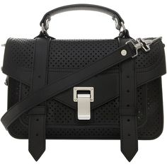 PROENZA SCHOULER Ps1 Mini Perforated Bag ($1,567) ❤ liked on Polyvore featuring bags, handbags, shoulder bags, purses, handbags purses, evening purses, man bag, handbags shoulder bags and shoulder strap bags