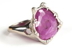 Perfect for Pantone's 2014 Color of the Year—Radiant Orchid: Ring in white gold featuring a pink sapphire slice surrounded by diamonds by Audrius Krulis, New York. Fine Jewelry, Jewellery, Color Of The Year, Pink Sapphire, Spring 2014, Pantone, Orchids, Amethyst, Gemstone Rings