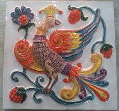 Дивная птица (фасадный изразец)