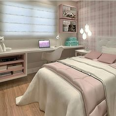 Teen Bedroom Interior Design Ideas, Color Scheme Ideas for Bedding, flooring, walls, and many decor ideas Dream Rooms, Dream Bedroom, Home Bedroom, Bedroom Decor, Bedrooms, Teen Bedroom, Bedroom Ideas, Diy Zimmer, New Room