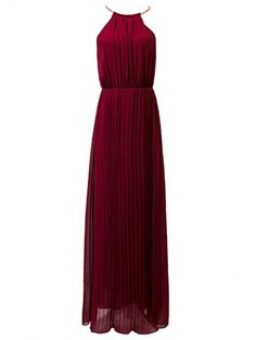 Pleated Round Neck Sleeveless Prom Dress WINE RED: Maxi Dresses | ZAFUL