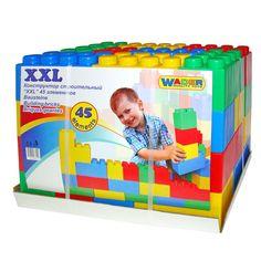 Bouw een huis, een toren, een kasteel en nog vele andere prachtige bouwwerken met de XXL Bouwblokken van Wader. De blokken zijn gemaakt van kwalitatieve kunststof waardoor ze extra sterk zijn. De set bestaat uit 45 grote blokken in blauw, groen, rood en geel. Afmeting: verpakking 55,5 x 33,5 x 42 cm - Polesie Bouwblokken XXL, 45dlg.