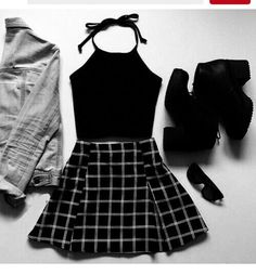skirt grid grid line skirt black white hipster trendy pleated skirt grunge