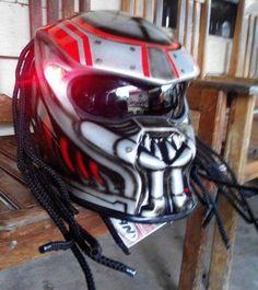 Predator Helmet Casco Motorcycle Costume Prop Mask Alien Glossy Black Size M L