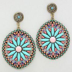 224197 / Resin Enamel Flower Wheel Dangle Earrings