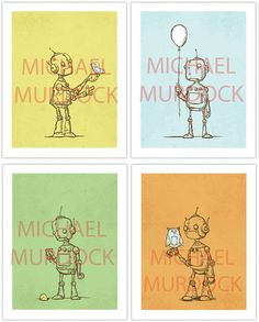 Cute Robot Art Prints 4 pack by Opafaf on Etsy, $65.00