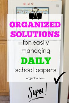 Organized Solutions for easily managing daily school papers at I'm an Organizing… School Paper Organization, Homework Organization, Organizing Paperwork, Household Organization, Organizing Ideas, Homework Binder, Kids Homework, Daily Papers, Paper Clutter