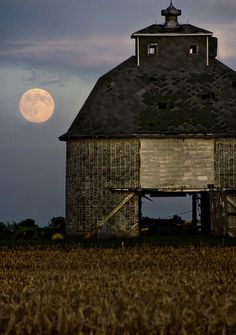 moonlit barn-awesome photo-think of these beautiful barns-the hours spent by the farmer milking his cows, mucking out the stalls-the spirits of the animals surely must inhabit the place still