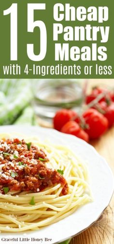 15 Cheap Pantry Meals with or Less (FREE PRINTABLE!) - Graceful Little Honey Bee - Expolore the best and the special ideas about Frugal meals Dinner Recipes Easy Quick, Quick Easy Meals, Simple Cheap Meals, Super Cheap Meals, Fast Meals, Inexpensive Meals, Recipes Dinner, Planning Budget, Meal Planning