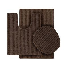 Garland 3 Piece Sheridan Plush Washable Nylon Bath Rug Set ($32) ❤ liked on Polyvore featuring home, bed & bath, bath, bath rugs, brown, plush bath mat, brown bath mat, brown bathroom rugs, 3 piece bath rug set and brown bath rug