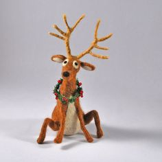 Needle felted Fiber Art Reindeer with beaded by AnnaBelleArts, $52.00. Anna Belle Arts [Illinois] - https://www.etsy.com/shop/AnnaBelleArts #reindeer