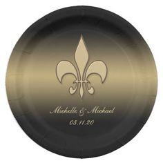 Radiant Black Gold Fleur de lis Personalized Paper Plates #neworleans #paperplates #fleurdelis #blackgold