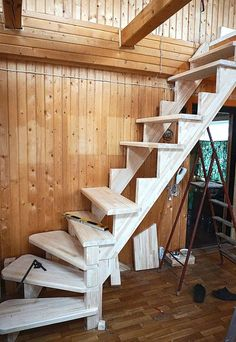 Space Saving Staircase, Small Staircase, Tiny House Stairs, Loft Stairs, Basement Stairs, Home Stairs Design, Interior Stairs, House Design, Steel Building Homes