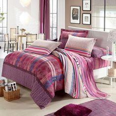 Modern Printed Twin Size Plaid Bedding Sets - EnjoyBedding.com