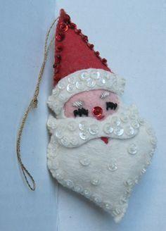 Vintage Handsewn Felt Christmas Ornaments Santa Claus Head | best stuff #compartirvideos #imagenesdivertidas