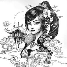 Geisha Tattoos, Geisha Tattoo Design, Tattoo Design Drawings, Cool Art Drawings, Art Sketches, Irezumi Tattoos, Japanese Geisha Tattoo, Japanese Tattoo Designs, Japanese Sleeve Tattoos