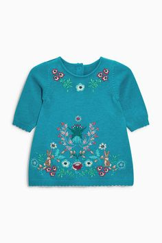 Kaufen Sie Teal Embroidered Knit Dress (0 Monate bis 2 Jahre) heute online bei Next: Deutschland