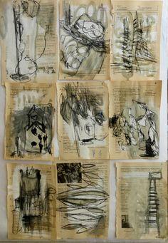 """Ines Seidel Zeichnungen  """"Zeichnungen mit Kohle auf Seiten aus verschiedenen Lehrbüchern, die ich vorher mit Gesso grundiert habe"""""""