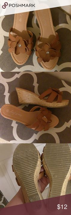 Tan strappy wedge sandals! Sz. 7 1/2 Cute tan wedge sandals. These say size 8, but fit more like a 7 1/2. Medium wedge heel. Lightweight and comfy. Worn once. Would keep if they were a true size 8. com fancy Shoes Wedges