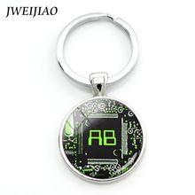 SALE $2 - Computer circuit laptop sleeve key chain green AB monogram circuit board keychain Electronics Engineer jewelry gift Key holder