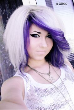 Obviously not the cut, but something like this for the color. Platinum/white blonde with deep purple peeking out underneath.
