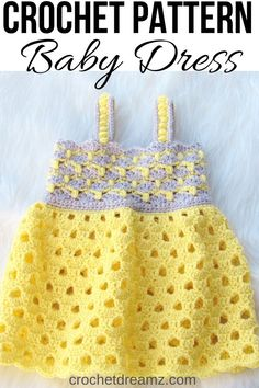 """""""This crochet eyelet dress will be a great outfit for summer. The pattern includes sizes Newborn, Baby and, Toddler up […] Crochet Baby Cardigan Free Pattern, Crochet Girls Dress Pattern, Crochet Toddler Dress, Crochet Bebe, Baby Girl Crochet, Unique Crochet, Crochet Baby Clothes, Crochet Stitches Patterns, Baby Clothes Patterns"""