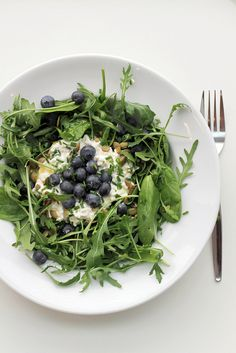 cottage cheese, blueberries and rocket.