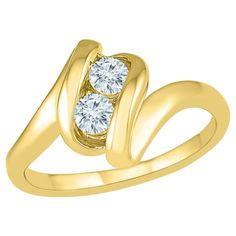 1/3 CT. T.W. Round White Diamond Prong Set Two Stone Ring in 10K Yellow Gold (I2-I3/I-J) - (