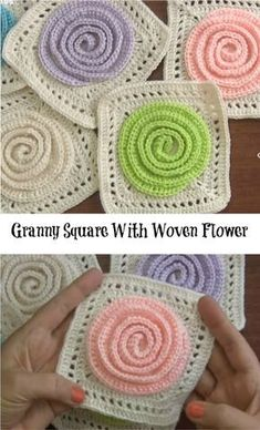 Granny Square With Woven Flower