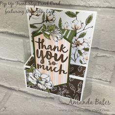 The Craft Spa - Stampin' Up! UK independent demonstrator - Order Stampin Up in UK: Magnolia Lane Pop Up Front Step Panel Card Front Steps, Up Front, Step Cards, Diy Cards, Fancy Fold Cards, Folded Cards, Bridge Card, Flower Outline, The Draw