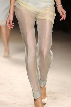 sheer tailored pants on someone with leg tattoos... would make me happy.