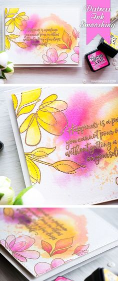 SSS Spring Flowers; Distress Ink Smooshing + Watercoloring. Beautiful quote card by @yanasmakula. Happiness is a perfume you can't pour on others without getting a few drops on yourself using @simonsaysstamp stamps