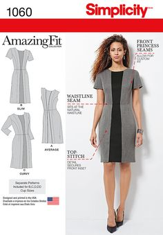 misses' & plus size amazing fit dress views b & c feature contrast inset panel. view a features inset piping. pattern includes individual pattern pieces for slim, average and curvy shape, and for b, c, d, dd cup sizes.