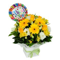 Thankyou Arrangement with Balloon. Thank You Flowers, Awesome, Amazing, Balloons, Floral Wreath, Wreaths, Fruit, Plants, Peace