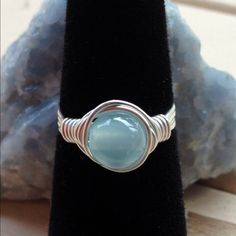 🎉Host Pick🎉Gemstone Wrap Ring Very Pretty Baby Blue CatsEye Gemstone Handwrapped with Sterling Silver Plated Wire! Custom size 💖--- Also available in Sterling Filled $4 extra, and Solid Sterling $8 extra upon request (please ask for for Custom Listing) Jewelry Rings
