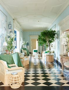 By Louise   Décor Inspiration: Mark D. Sikes' Design for The Greystone Mansion, California - a mix of his signature blue and white, plus green