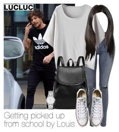 """Getting picked up from school by Louis"" by style-with-one-direction ❤ liked on Polyvore featuring Topshop, Converse, Marc by Marc Jacobs, OneDirection, 1d, louistomlinson and louis tomlinson one direction 1d"