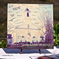 Instead of a guest book, have guests sign a picture of the wedding site.  It will make a great keepsake!