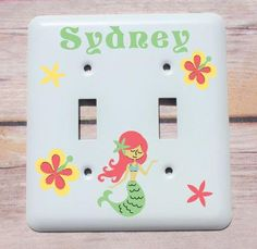 Kids Mermaid Decor, Personalized Nursery Decor, Custom Baby Shower Gift, Personalized Baby Gift, Childs Light Switch Plate, Switch Cover