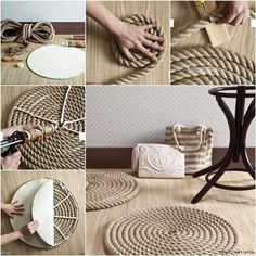 Rope Rug - instructions in Russian,  but pictures are very clear,  could do a lot if you have loads of rope like I have,  http://marrietta.ru/post323900762/