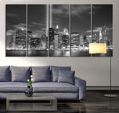 Manhattan Night Canvas Art Print, Large Wall Art Black White New York City Art, Extra Large Skyline Manhattan Wall Art Print