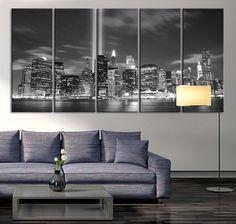 Manhattan Night Canvas Art Print, Large Wall Art Black White New York City Art, Extra Large Skyline Manhattan Wall Art Print